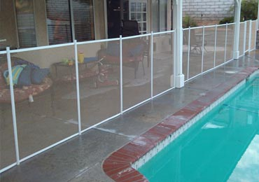 Beige/White Pool Fence