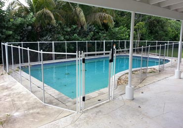 Black/White Pool Fence